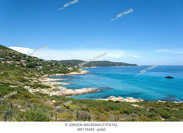 Coast at the beach of l'Escalet, Ramatuelle, Var, Provence-Alpes-Cote d`Azur, France, Europe | Coast at the beach of l'Esaclet near Ramatuelle in the Department...