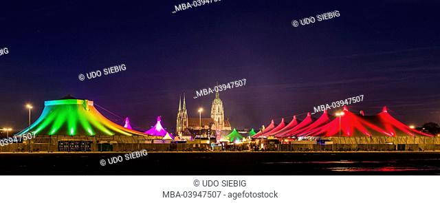 Germany, Bavaria, Upper Bavaria, Munich, Theresienwiese, Tollwood winter festival and church of St Paul