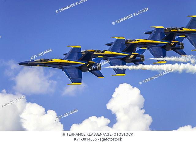 The Blue Angels air acrobatic team at the 2017 Airshow in Duluth, Minnesota, USA