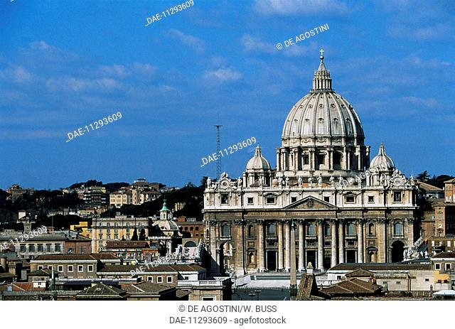 View of St Peter's Basilica from Castel Sant'Angelo (UNESCO World Heritage List, 1980-1990), Rome, Italy