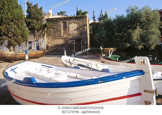 Boats in Port Lligat. Cadaques. Girona province. Girona