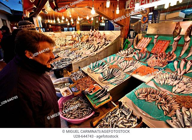 Turkey, Istanbul. Located by the Marmara sea, in the Kumkapi area, this fish market offer a wide variety of fresh sea food