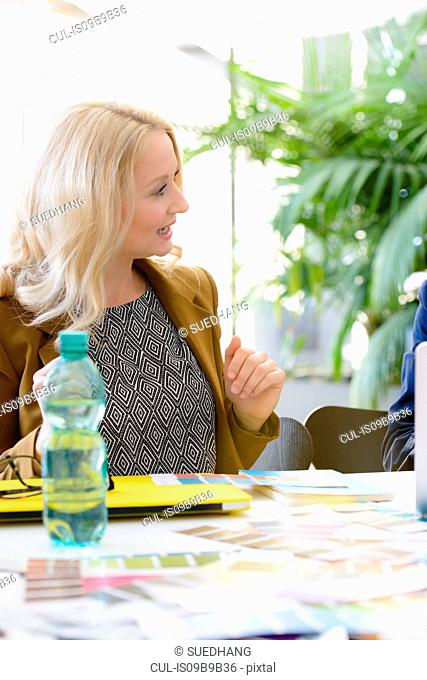 Young businesswoman having discussion at boardroom table