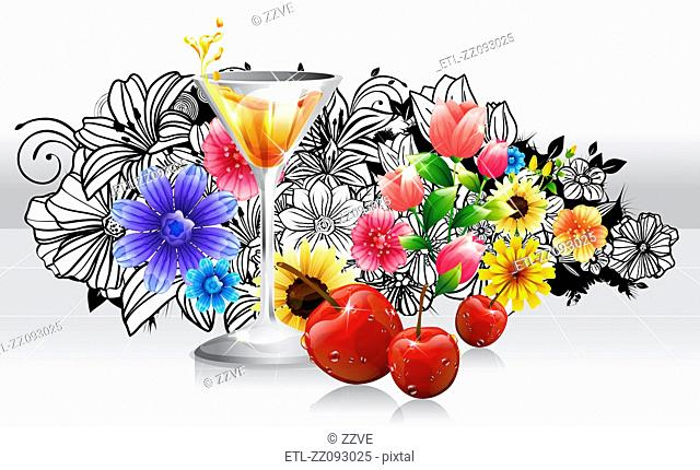 Red Cocktail and cherry fruits with flora design