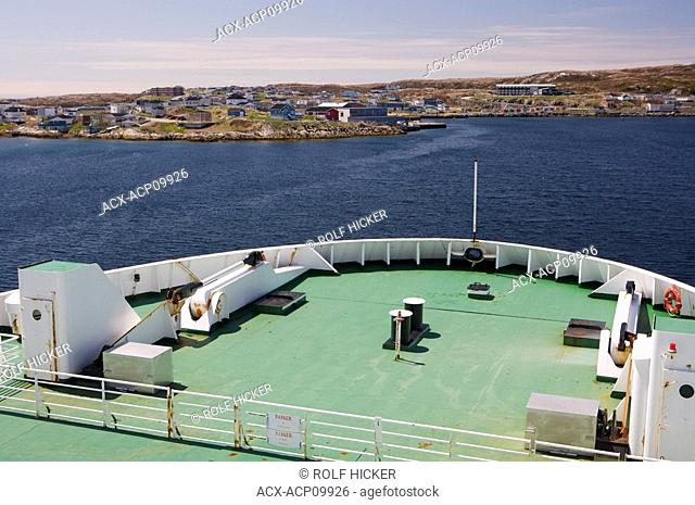 The bow of the Marine Atlantic Ferry, the M/V Caribou as it arrives into Port aux Basques, Newfoundland from North Sydney, Nova Scotia, Canada