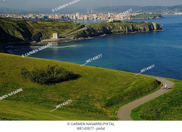 Gijon town from San Lorenzo Park, Asturias