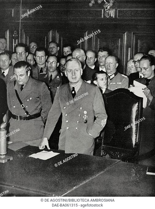 German foreign minister Joachim von Ribbentrop announcing the invasion of Yugoslavia to the press, Germany, World War II, from L'Illustrazione Italiana