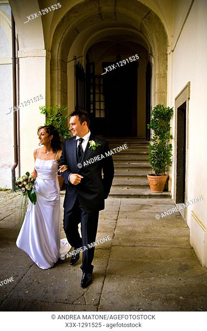 Bride and groom walking toghether
