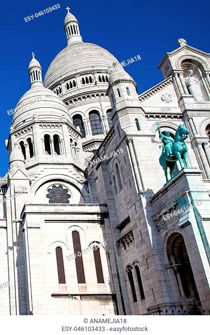 The Sacre Coeur Basilica at the Montmartre hill in Paris France