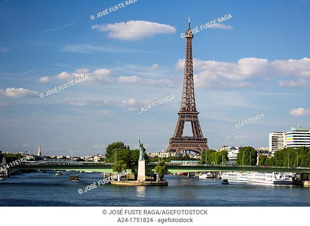 France , Paris City, Eiffel Tower and Statue of Liberty , Sein River