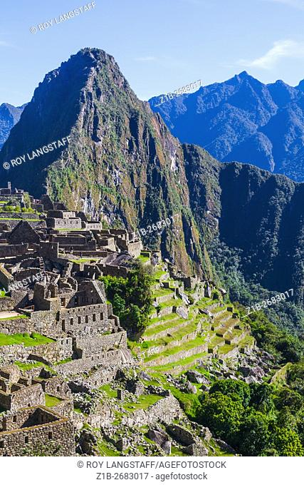 Overview of Machu Picchu from the entrance level of the settlemeny