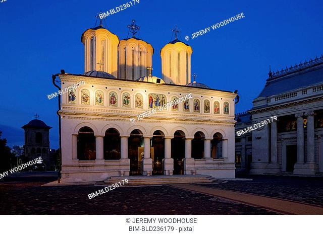 Illuminated cathedral at night, Bucharest, Romania