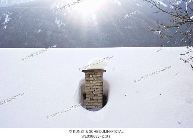 Snow-covered chimney, Kolbnitz, Mölltal, Carinthia, Austria,  Europe