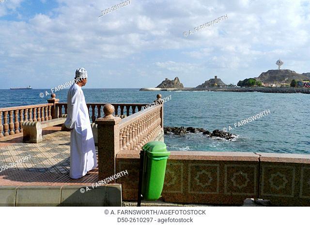MUSCAT, OMAN Muttraharea. Cornich and Sea of Oman