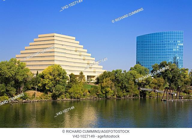 Ziggurat & CalSTRS Buildings in Sacramento, California, USA