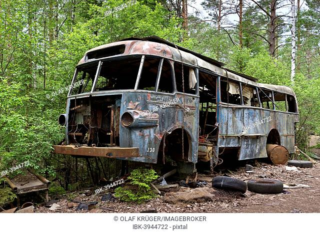 Old bus, Kyrkö Mosse junkyard, Ryd, Tingsryd, Kronoberg County, Sweden