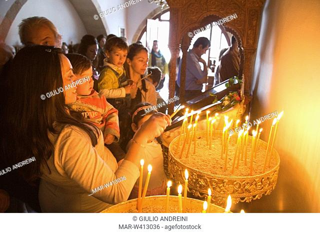europe, greece, dodecanese, patmos island, skala, orthodox church, easter week, holy mass