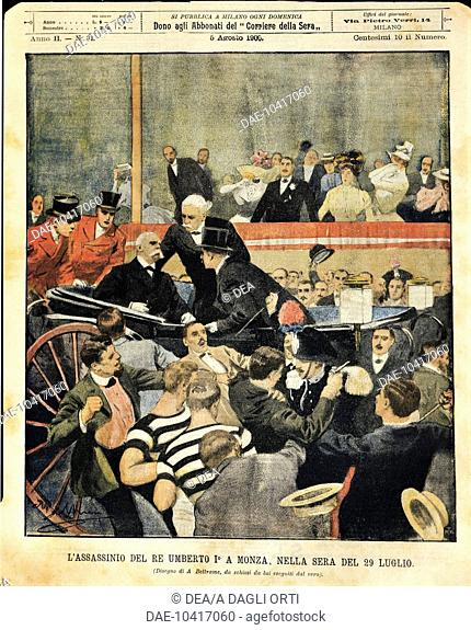 Italy - 20th century - Regicide in Monza. Italy's king Humbert I assassinated. Cover illustration from La Domenica del Corriere Sunday supplement to daily...