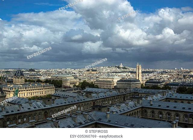 Skyline of Paris from Notre Dame at a summer day. Can see from St. Jacques tower to Montmartre and the Sacre Coeur on the top