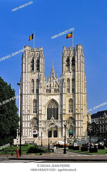 Belgium, Brussels, cathedrale des Saints Michel et Gudule The Cathedral of St. Michael and St. Gudula erected at a crossroads situated on a hill known as the...