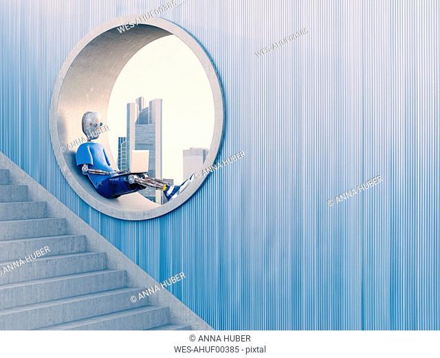 Robot sitting in round window using laptop, 3d rendering