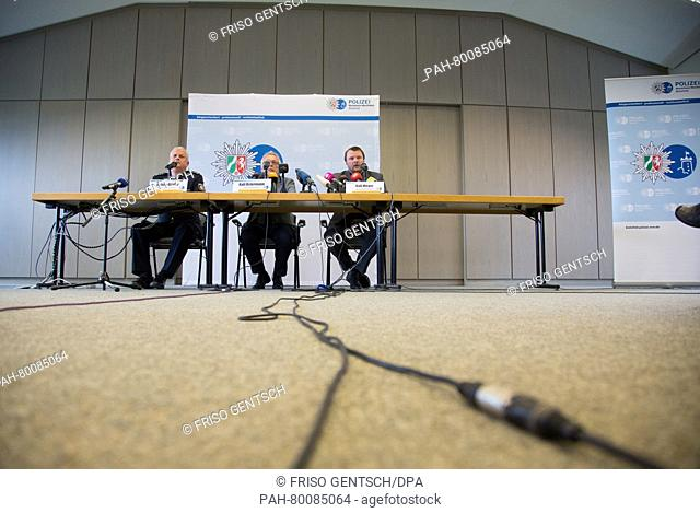 Ralf Meyer (R-L) of the Paderborn public prosection department, Ralf Oestermann, head of the homicide division, and Bielefeld police spokesman Achim Ridder...