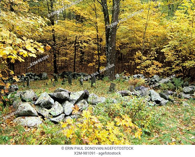 Graveyard at Pawtuckaway State Park in New Hampshire, USA