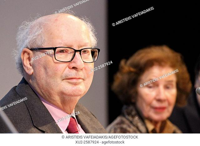 Athens Greece, 18 January 2016. Beate and Serge Klarsfeld present their autobiography in Athens. Serge Klarsfeld and Beate Klarsfeld are activists and Nazi...