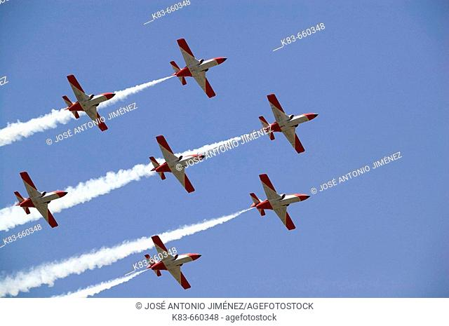 Patrulla Águila, Spanish Air Force aerobatic demonstration team, Armilla airbase. Granada province, Andalucia, Spain