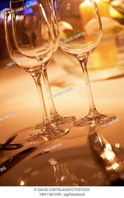 evening table setting with Empty wine glasses