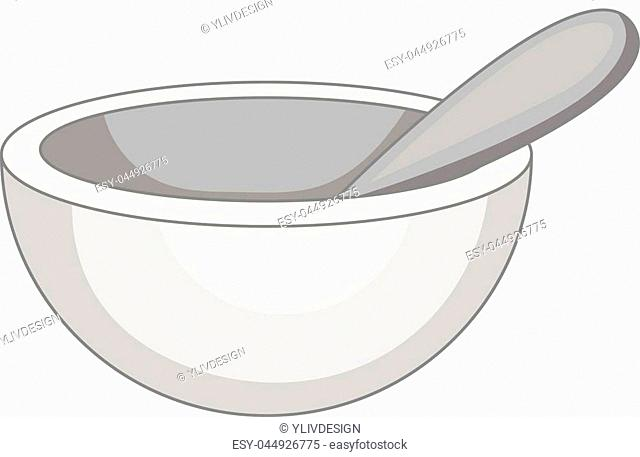Mortar and pestle icon in monochrome style isolated on white background vector illustration