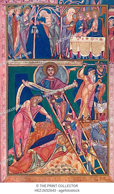 'MS. Illumination Showing the Vision of Jacob', 12th century, (1902). From the Book of Genesis, Lambeth Palace Library, London