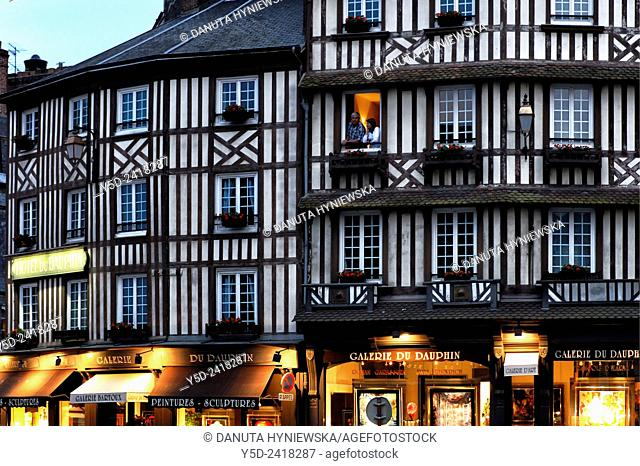 street scene, traditional architecture, Honfleur, Calvados, Normandy, France
