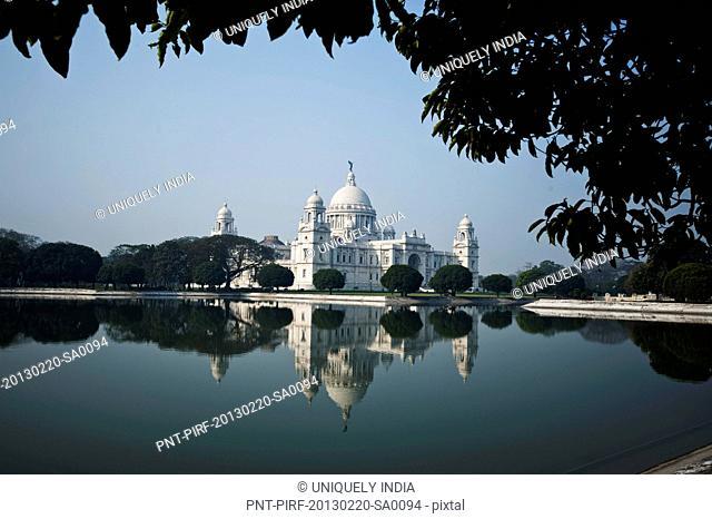Reflection of museum in water, Victoria Memorial, Kolkata, West Bengal, India