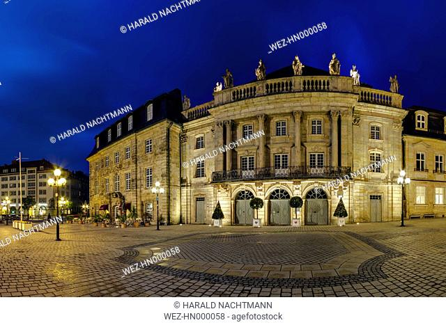 Germany, Bavaria, View of Margravial Opera House at night