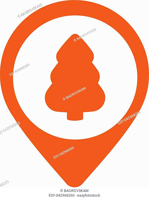 Pointer icon with christmas tree on white background, map pin flat design style modern icon, marker sign , navigation, vector illustration, GPS icon eps10