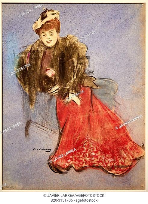 """""""Portrait of Gabrielle Réjane"""", 1899, Ramon Casas, National Museum of Catalan Art, Museu Nacional d Art de Catalunya, MNAC, Barcelona, Spain, Europe"