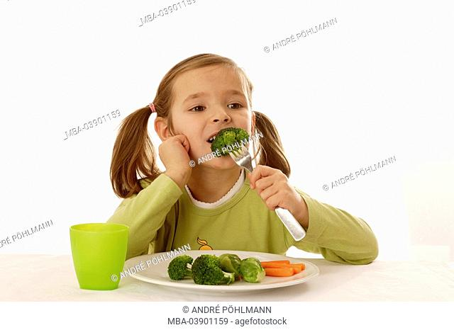 girl, smiling, plates, vegetables, broccoli, carrots, rose-cabbage, fork, portrait, eating series, people child 6-8 years long-haired, brunette child-portrait