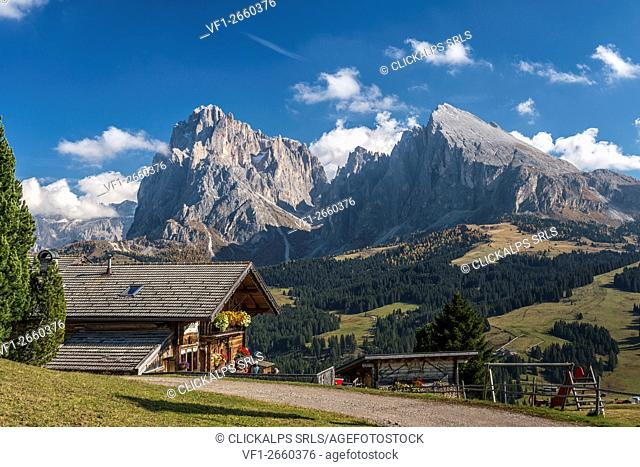 Alpe di Siusi/Seiser Alm, Dolomites, South Tyrol, Italy. The Rauch mountain hut