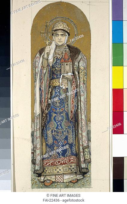 Saint Olga, Princess of Kiev (Study for frescos in the St Vladimir's Cathedral of Kiev). Vasnetsov, Viktor Mikhaylovich (1848-1926)
