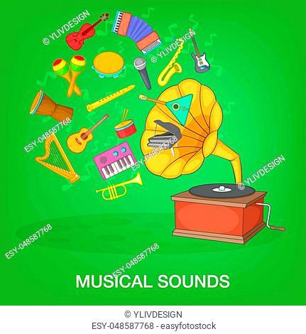 Musical instruments green concept set. Cartoon illustration of musical instruments green concept for web