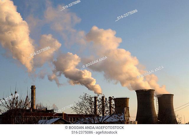 Grozavesti Power Station by dusk - Bucharest, Romania, Europe, Eastern Europe