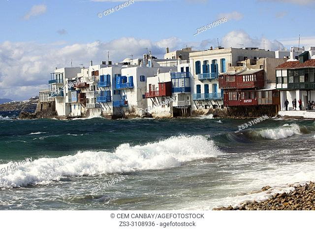 View to the traditional Cyclades houses by the sea in Little Venice area, Mykonos, Cyclades Islands, Greek Islands, Greece, Europe