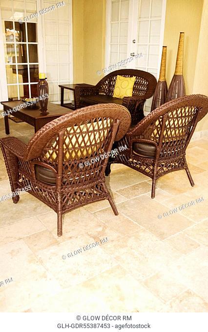 Furniture under a patio