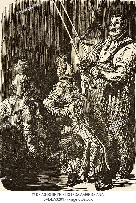 A man with two swords, from Zaire by Voltaire, Beautes des vieux maitres, illustration by Gustave Dore (1832-1883) from the Journal pour rire, No 176
