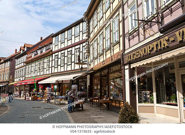 Row of traditional timbered houses in Wernigerode, Harz, Germany, Europe