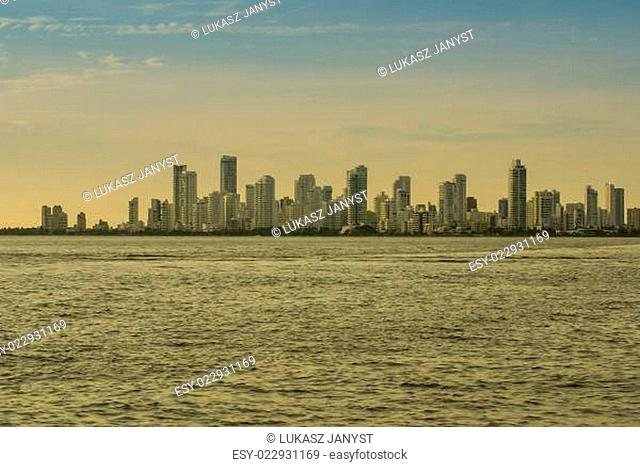A view of apartment towers forming a white skyline in Cartagena de Indias, Colombia