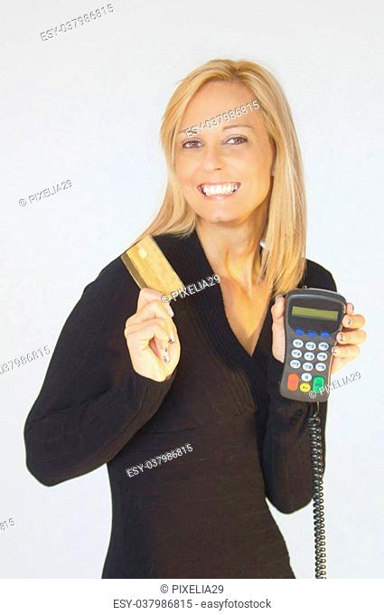 Woman with PIN pad