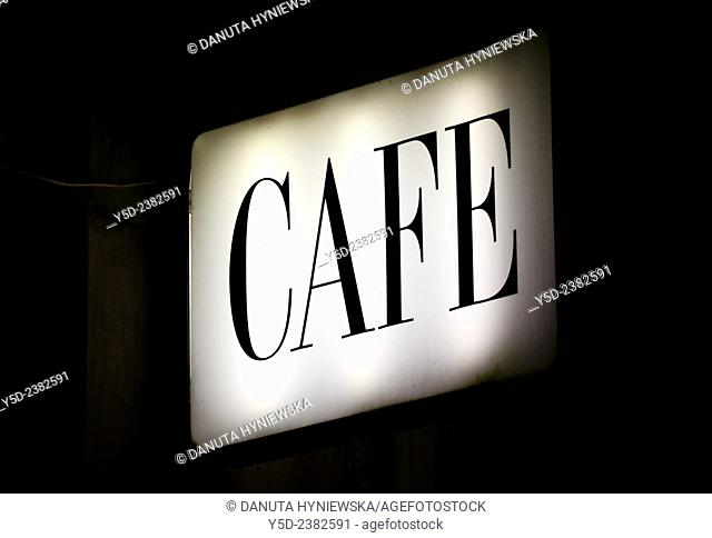 Close-up of coffee bar neon, nighttime, city center, Warsaw, Poland