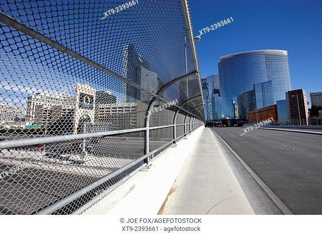 safety chain link fence screen and walkway over i-15 interstate in Las Vegas Nevada USA